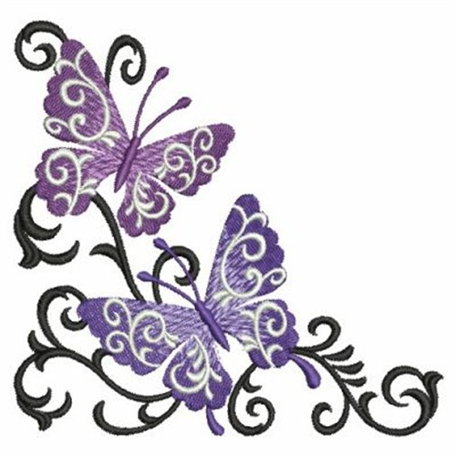 Butterfly Scroll Corner Embroidery Designs Machine Embroidery