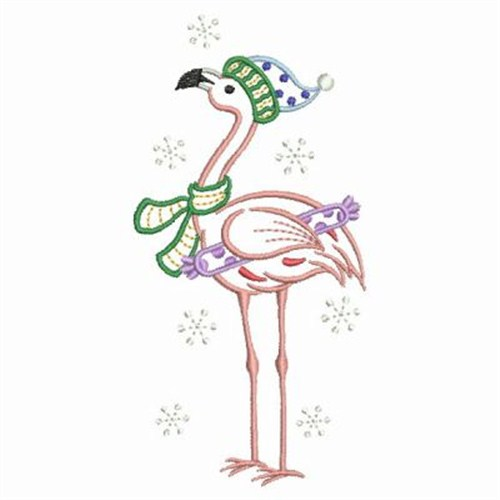 Christmas Embroidery Patterns Free.Christmas Flamingo Embroidery Design
