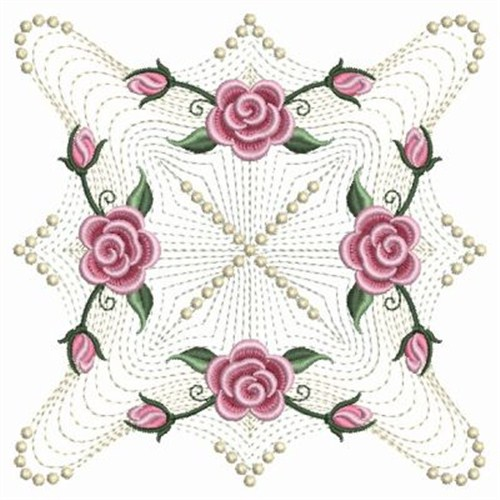 Pearl roses motif embroidery designs machine