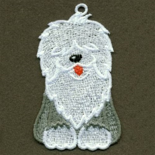 Stand Alone Lace Embroidery Designs : Fsl english sheepdog embroidery designs machine