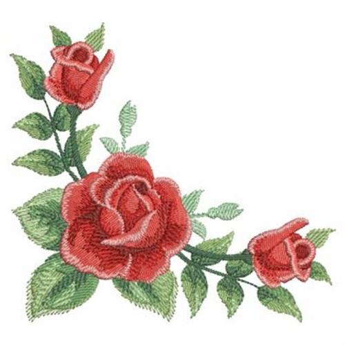Watercolor roses corner embroidery designs machine