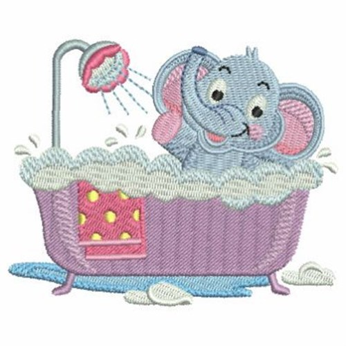 Bath Time Elephant Embroidery Designs Machine Embroidery
