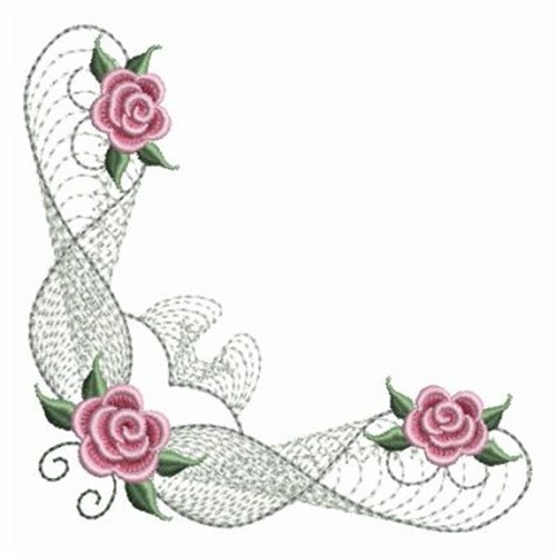 Pearl Roses Corner Embroidery Designs Machine Embroidery Designs At