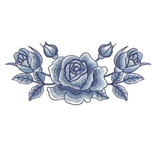 Delft blue roses border embroidery designs machine