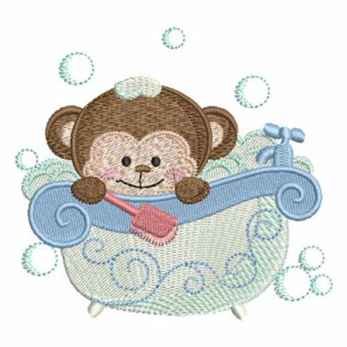 Bath time monkey embroidery designs machine embroidery for Bathroom embroidery designs