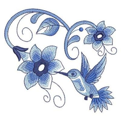 Floral Delft Blue Hummingbird Embroidery Designs Machine Embroidery