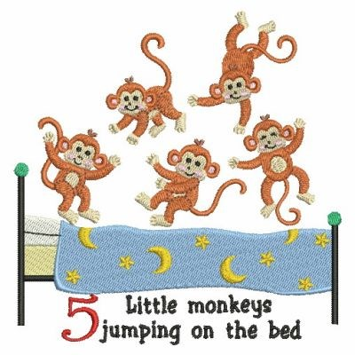Five Little Monkeys Embroidery Designs Machine Embroidery Designs