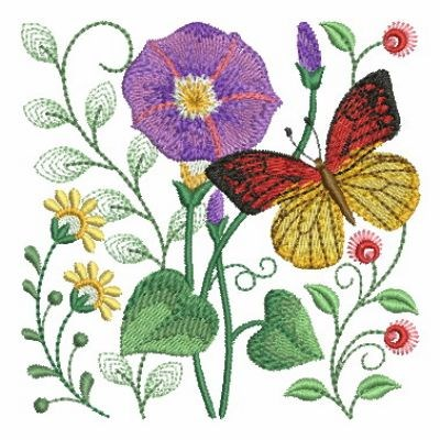 Butterfly Petunia Garden Embroidery Designs Machine Embroidery