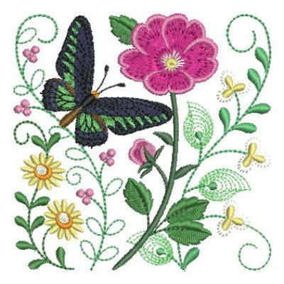Butterfly flower garden embroidery designs machine for Garden embroidery designs free