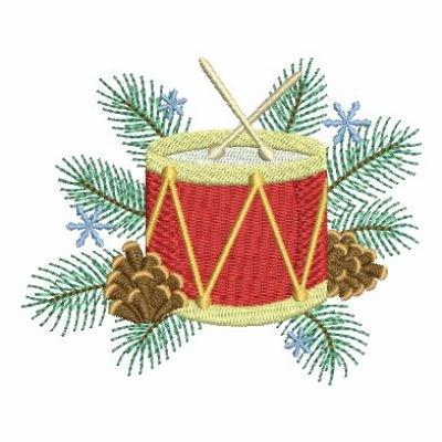 Christmas Drum.Festive Christmas Drum Embroidery Design