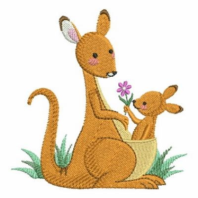 Mom And Baby Kangaroo Embroidery Designs Machine Embroidery Designs