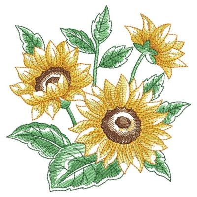 Watercolor Sunflowers Embroidery Designs Machine