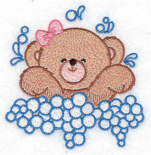 Baby Bear Splashing Embroidery Designs Machine Embroidery Designs