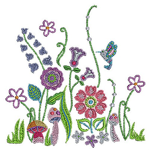 Flower garden mushrooms embroidery designs machine for Garden embroidery designs free