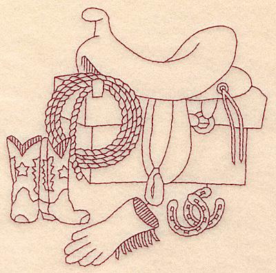 Cowboy Redwork Embroidery Designs