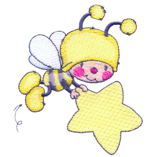 Bee with star embroidery designs machine