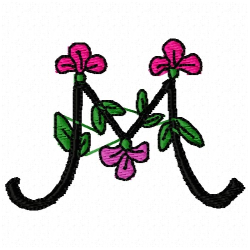 Floral alphabet m embroidery designs machine