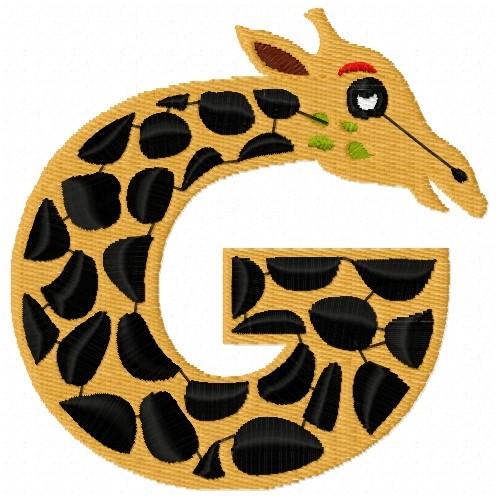 Animal alphabet g embroidery designs machine