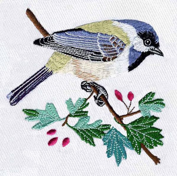 Black capped chickadee embroidery designs machine
