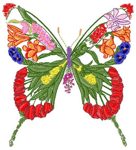 Concord Collections Embroidery Design Floral Butterfly 3
