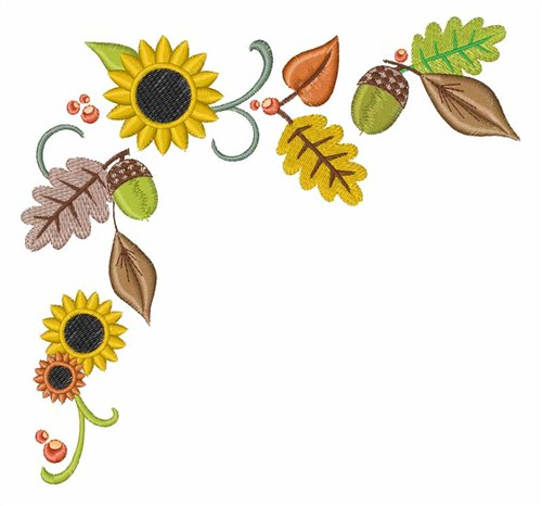 Autumn leaves embroidery designs machine
