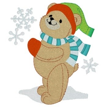 Winter Teddy Bear Fringe Embroidery Designs Machine Embroidery