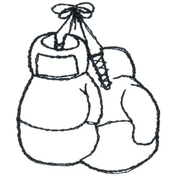 boxing gloves outline embroidery design