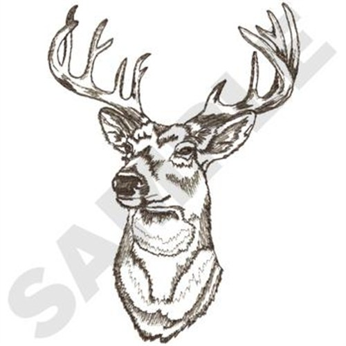 Whitetail deer head embroidery designs machine