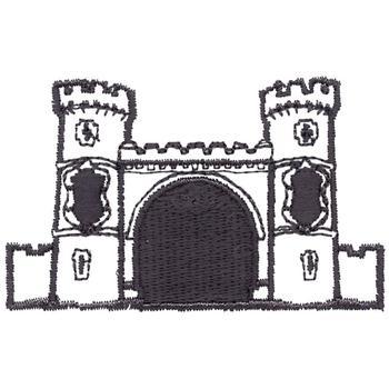 Castle Outline Embroidery Design