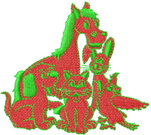 Animals embroidery designs machine at