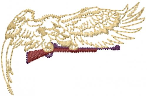 Eagle with gun embroidery designs machine