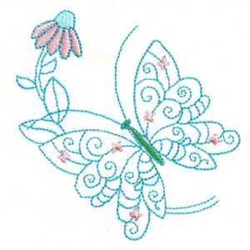 Outline butterfly flower embroidery designs machine