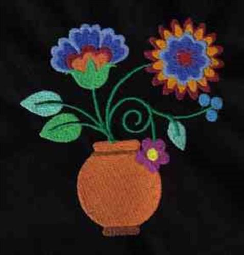 Jacobean flower vase embroidery designs machine