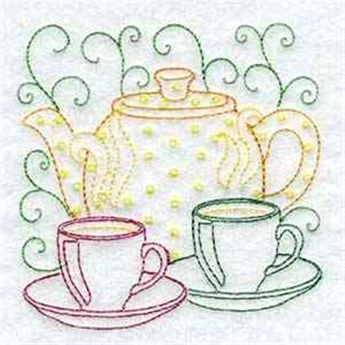 Teapot And Teacups Embroidery Designs Machine Embroidery