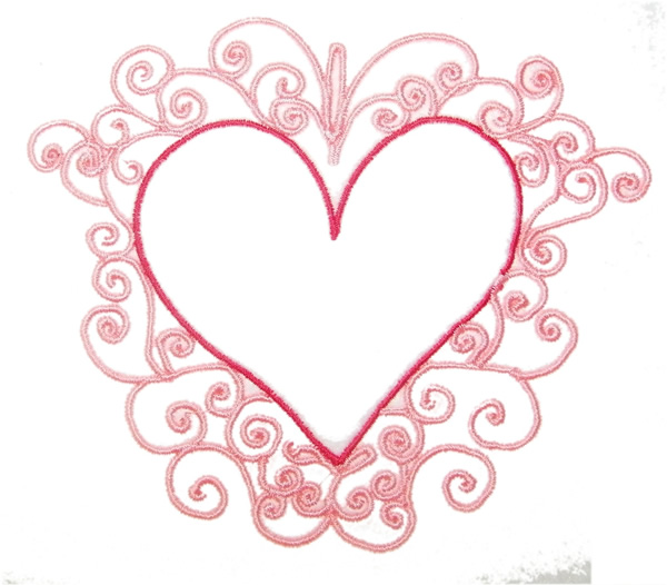 Fancy Heart Outline Embroidery Designs, Machine Embroidery ...