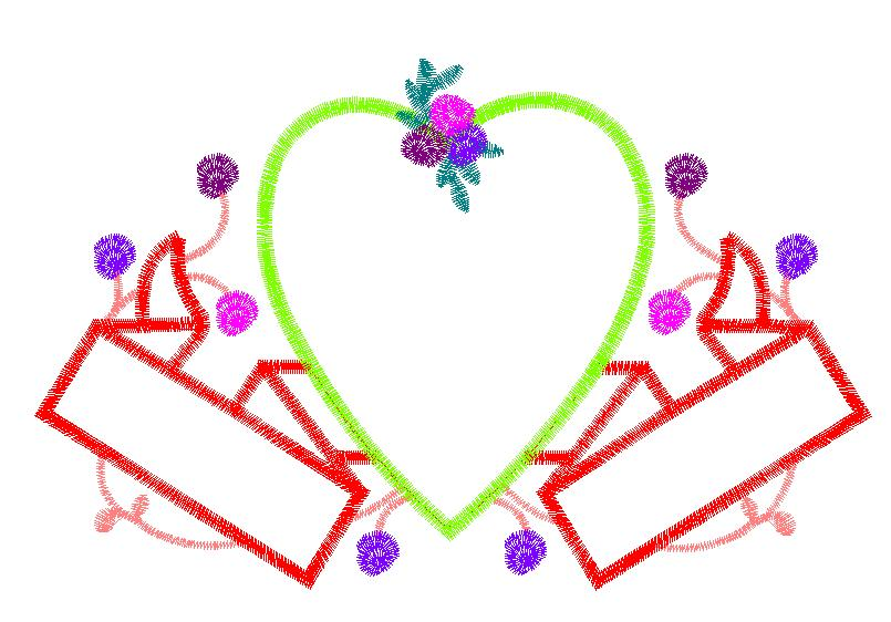 Heart and ribbons embroidery designs machine