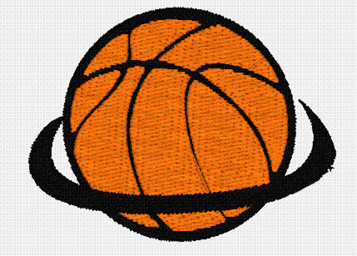 Basketball in hoop embroidery designs machine