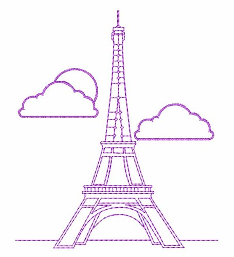 Eiffel Tower Outline Embroidery Designs Machine Embroidery Designs