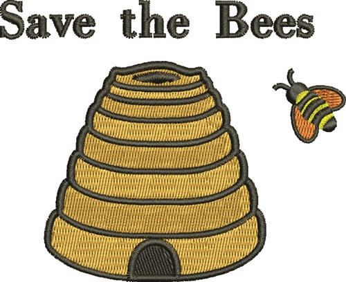 Save the bees embroidery designs machine