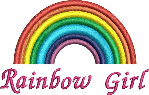 Rainbow girl embroidery designs machine