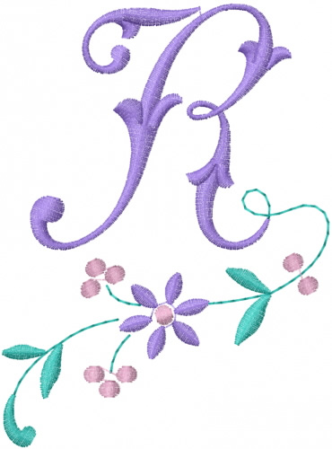 Floral alphabet embroidery designs machine