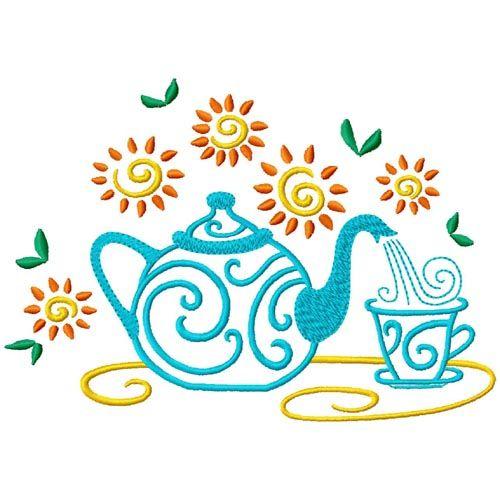 Tea Time Machine Embroidery Designs
