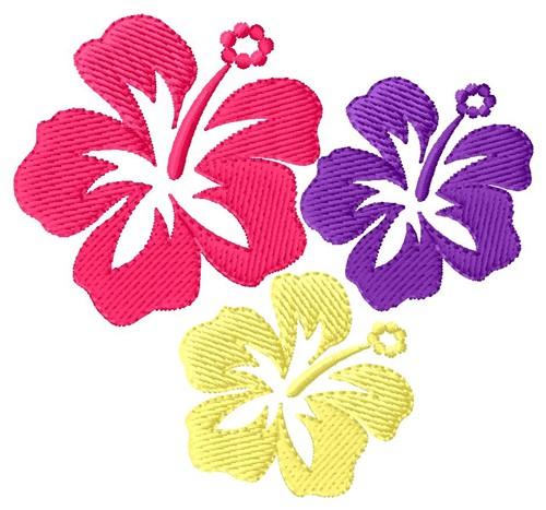 Hawaiian flowers embroidery designs machine