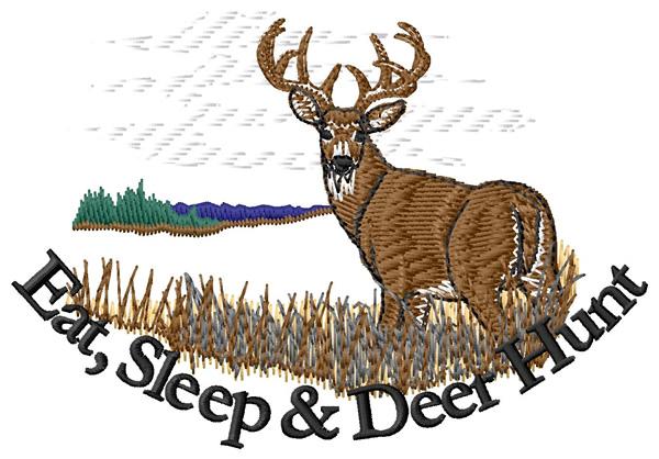 Eat sleep deer hunt embroidery designs machine