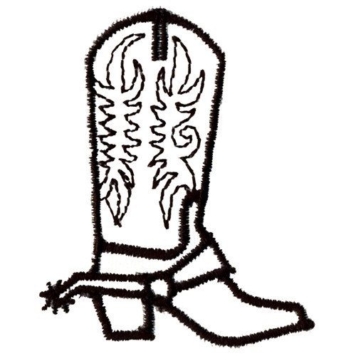 Western Boot Outline Embroidery Designs, Machine Embroidery ...