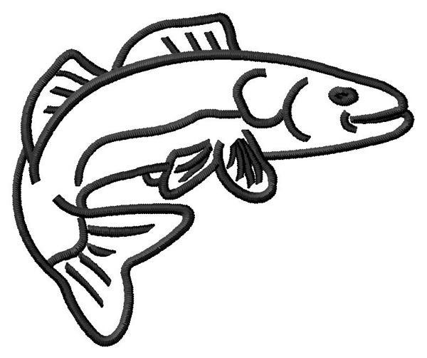 Walleye Outline Embroidery Designs Machine At
