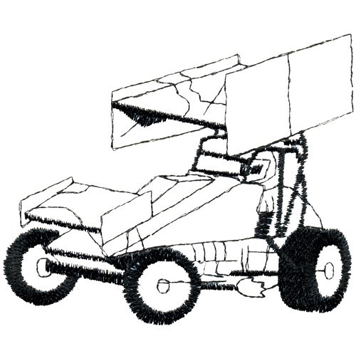 Sprint Car Outline Embroidery Designs, Machine Embroidery