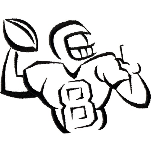 Football Player Outline Embroidery Designs Machine Embroidery