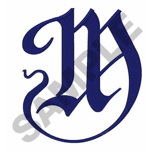 Calligraphy Letter M Embroidery Design