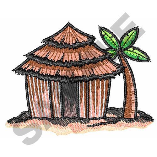 Beach Hut Machine Embroidery Design